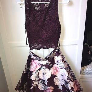 purple floral two piece homecoming dress